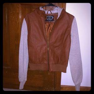 Faux leather + grey hoodie jacket